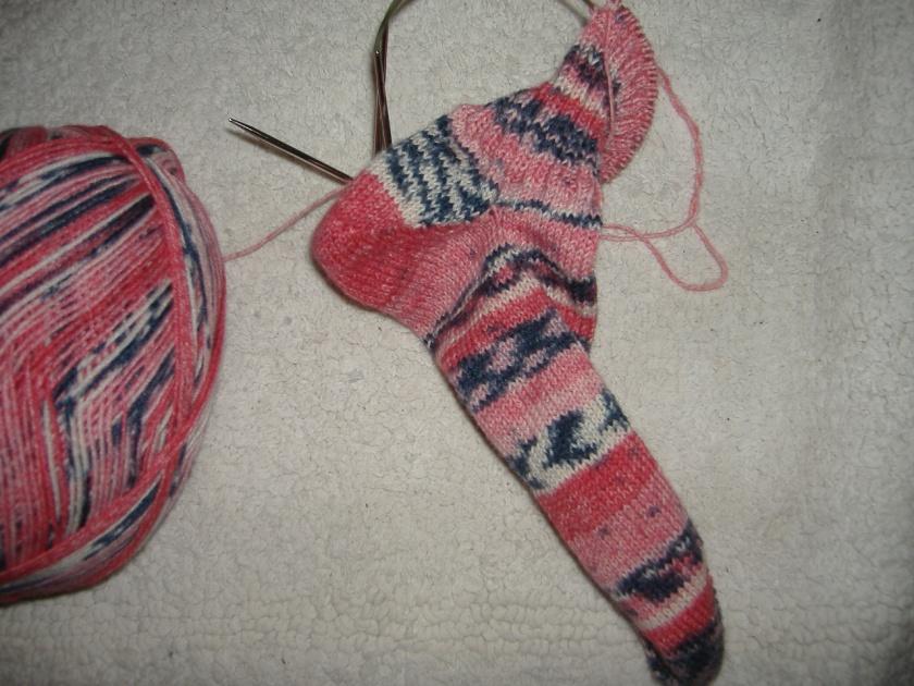 Sock using Opal Magic Rouge